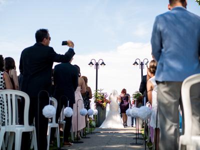 Ceremony Decor, Sheppard Hooks, Rose Balls at Liuna Gardens