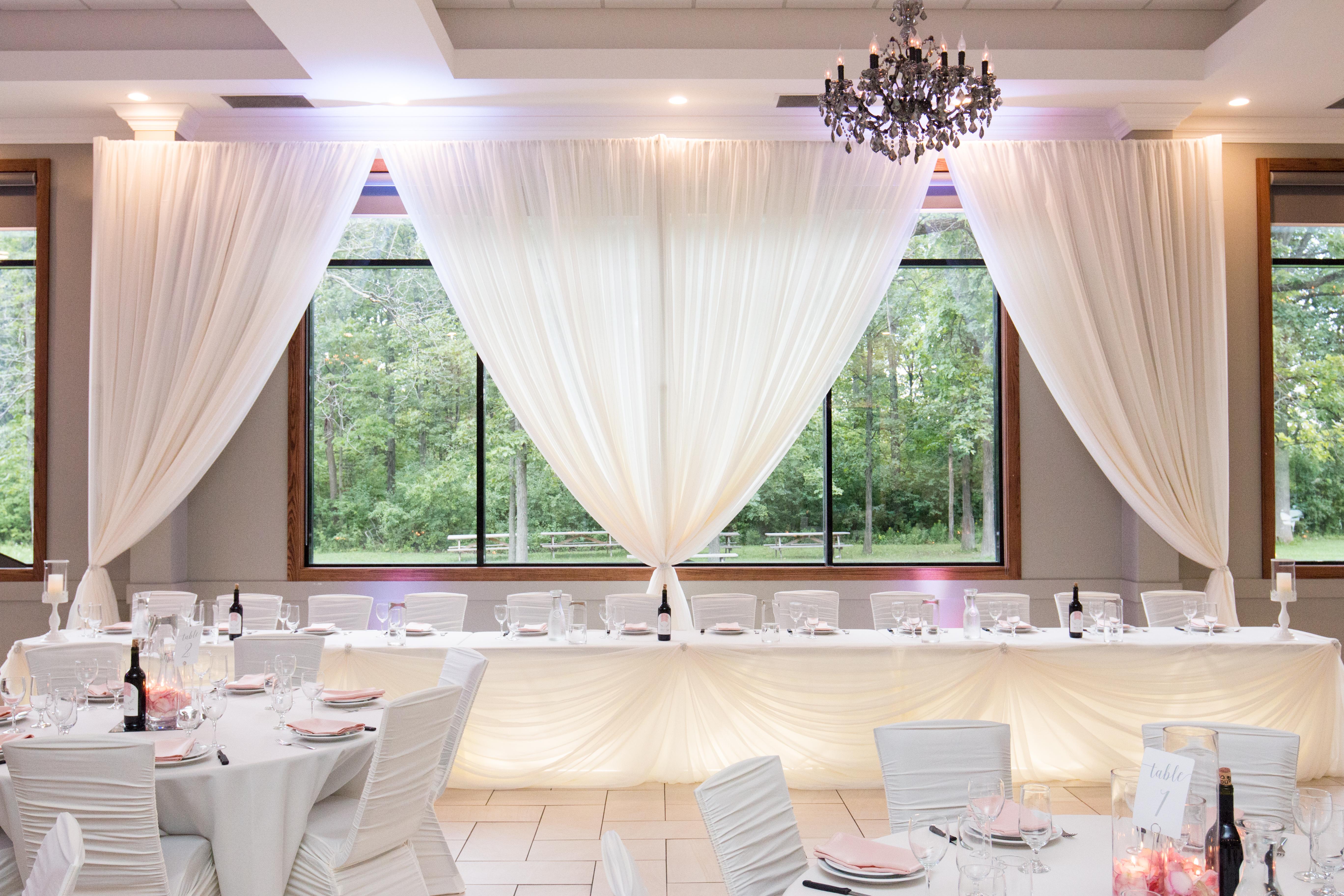 Wedding Decor - Head Table - Open Backdrop at Croatian Sports ...